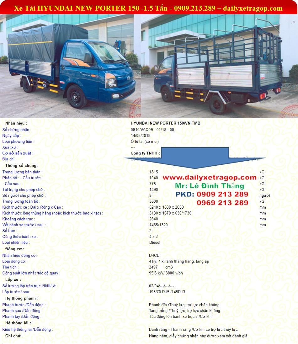 Xe Hyundai PORTER H150 | Xe Tải Hyundai H150 | Hyundai 1.5 Tấn