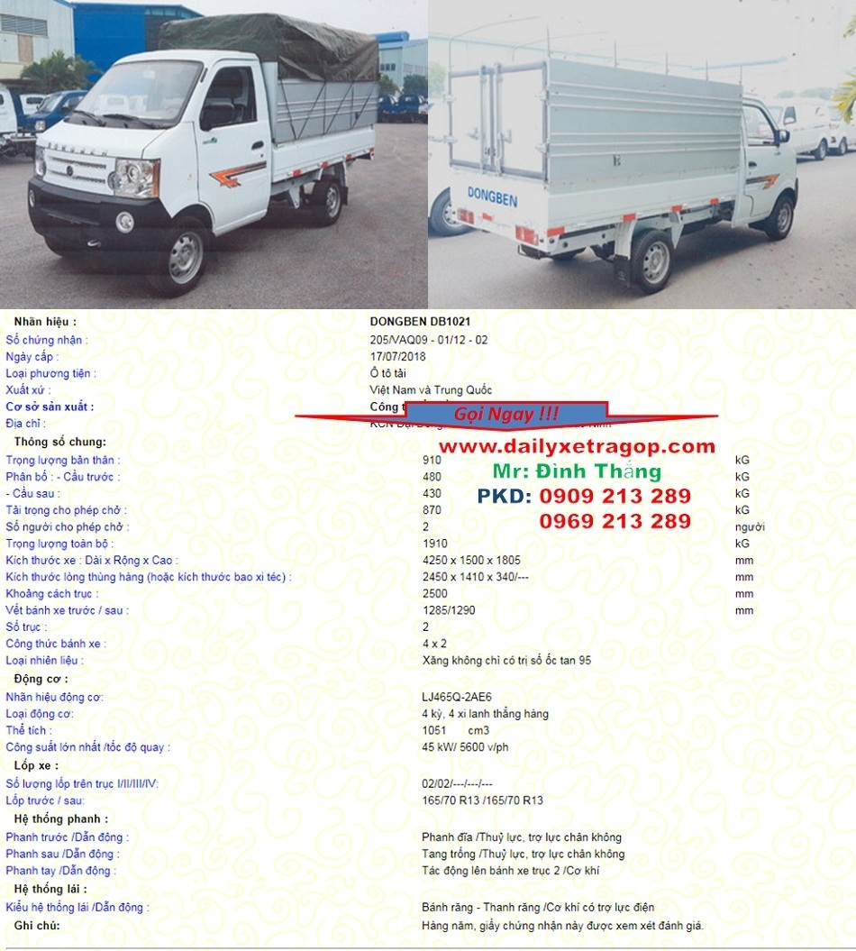Xe Tải đông ben 870 kg thùng bạt | Giá Xe DONGBEN | 0909213289 Mr Thăng