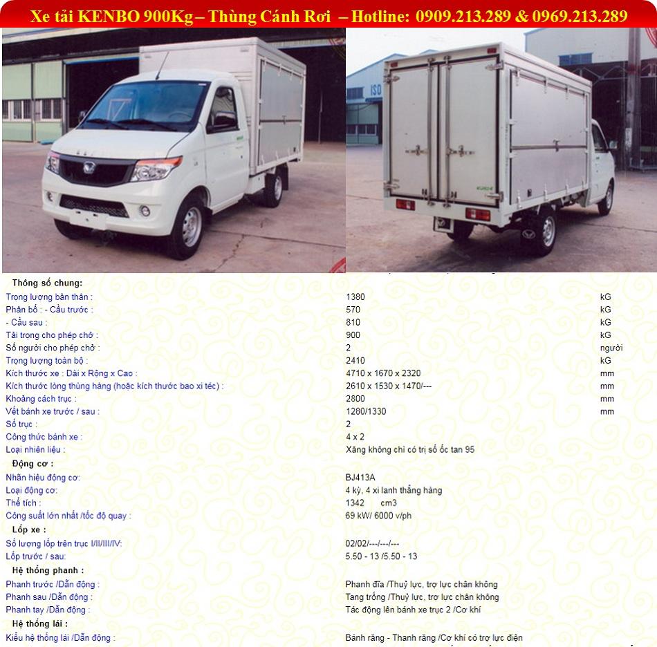 Xe Kenbo 900kg Thùng Kín Cánh Rơi | Kenbo Thùng Cánh Rơi | Xe Kenbo 900kg thùng Lưu Động | 0909213289
