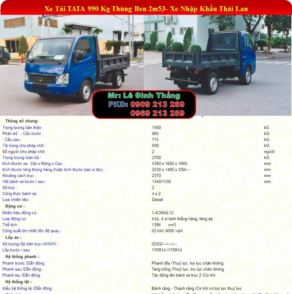 Xe Tải TATA 1.2 Tấn Động Cơ DIESEL | Xe TATA 990Kg | Xe TATA 1T2 | Giá Xe TATA | LE DINH THANG