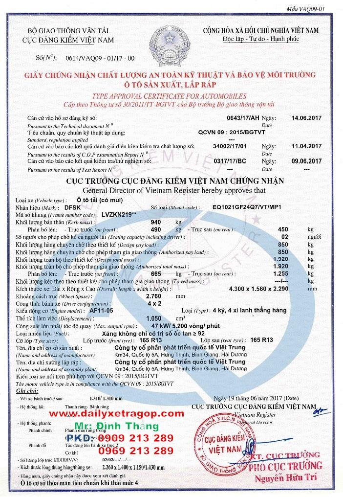 Xe Tải Thái Lan 850kg   Giá Xe Thái Lan 850kg   Xe Tải DFSK 850KG   LE DINHTHANG   0909213289