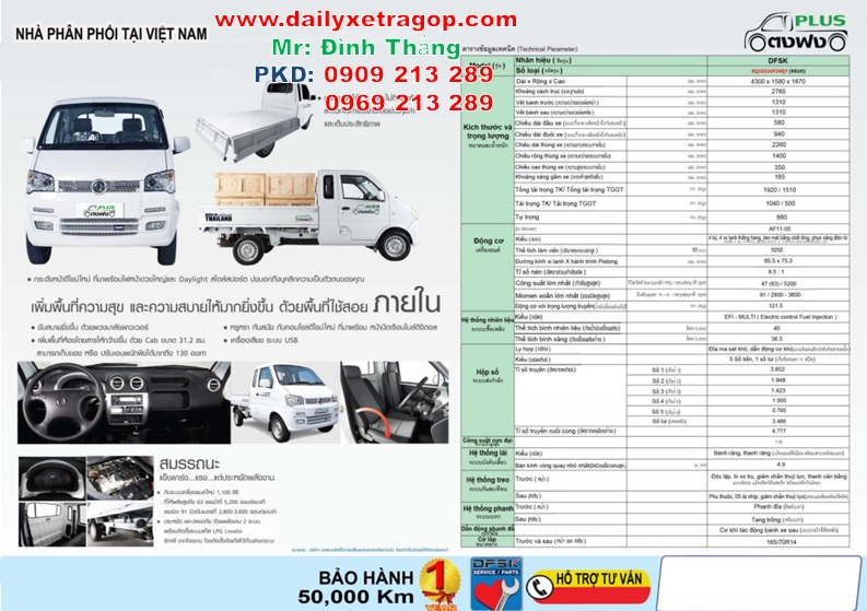 Xe Tải Thái Lan 850kg | Giá Xe Thái Lan 850kg | Xe Tải DFSK 850KG | LE DINHTHANG | 0909213289